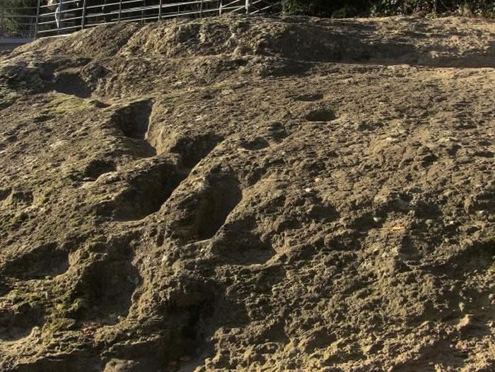 """""""恶魔的足迹""""?意大利坎帕尼亚区北部罗卡蒙菲纳35万年前人类脚印向着火山山顶走去"""