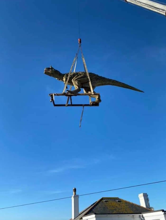英国根西岛父亲买恐龙模型送儿子 谁料牛龙竟有6米长