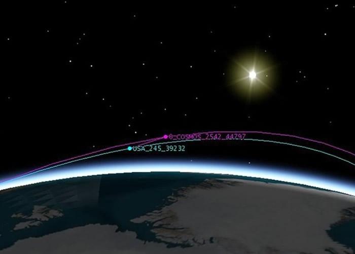 俄罗斯COSMOS 2542卫星跟踪美国USA 245间谍卫星。图为示意图。