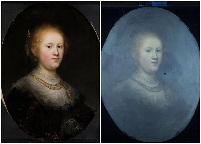 专家透视原画作(左图)表面的颜料,发现下面另有一层绘画笔法与伦勃朗一致的颜料(右图)。