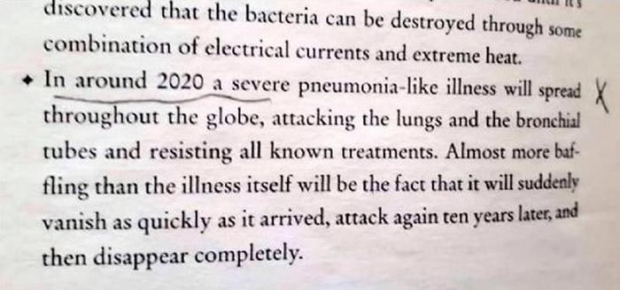 苏菲亚布朗《世界末日:关于世界末日的预测和预言》提到2020年将会爆发肺炎疾病?
