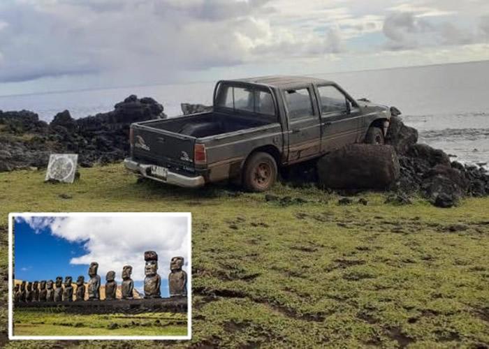 男子开车撞坏智利复活岛上的著名世界文化遗产毛埃石像
