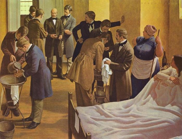 画家罗伯特. 托姆(Robert Thom)的作品,描绘塞默维斯(图中央)在奥地利的维也纳综合医院里监督医生,要求他们在为产科病人检查前先洗手。 PHOTOGR
