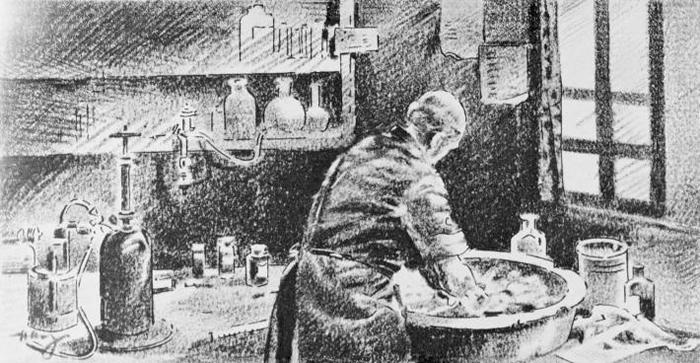 在这幅素描画中,塞默维斯正用次氯酸钙溶液清洗双手。 虽然他找出让医疗照护更安全的做法,但直到他在1865年逝世以前都未曾受到认同。 PHOTOGRAPH BY