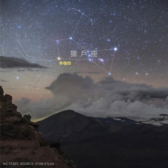猎户座从夏威夷哈里亚卡拉火山(Haleakala Crater)的上方升起。 影像中两颗较亮的恒星是参宿四和参宿七。 PHOTOGRAPH BY BABAK T