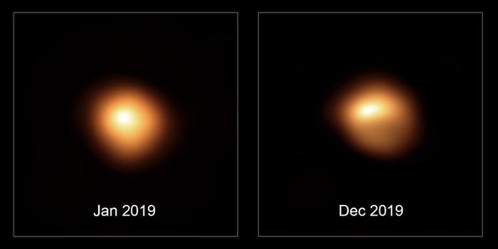 参宿四发生有史以来最剧烈亮度减弱的前后对比影像。 这两张影像是由欧洲南方天文台(ESO)的甚大望远镜于2019年1月和12月时分别拍摄的,可以看到这颗恒星亮度减