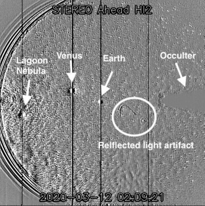 NASA日地关系空间天文台(Stereo)任务捕捉到奇怪形状:并非UFO
