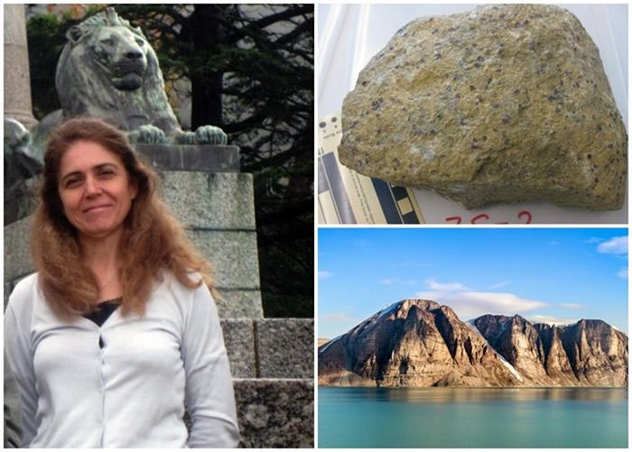 科皮洛娃(左图)研究的庆伯利岩(右上图)采自巴芬岛(右下图)南部。