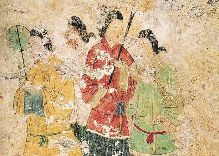 """被称为""""飞鸟美人""""的宫女群像,是日本国宝级文物。"""