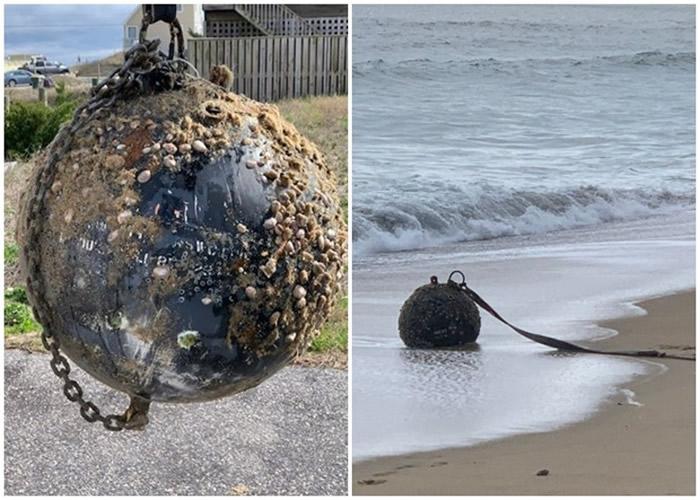 混凝土球冲上美国北卡罗莱纳州小镇沙滩 市民误以为炸弹报警