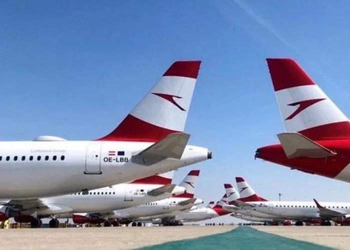 维也纳机场停机坪停满了奥地利航空的航班。