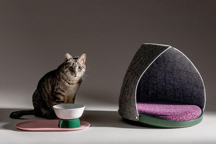 英国LAYER DESIGN新推出CANOPY3合1猫床及MESA猫碗套装