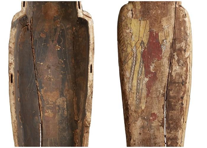 """英国3000年历史木乃伊""""Ta-Kr-Hb""""棺木底部及内部藏古埃及女神阿蒙泰特珍贵画像"""