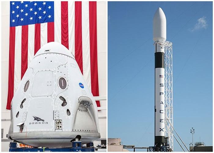 """宇航员将乘坐猎鹰9号火箭(右图)搭载的""""龙""""飞船(左图)升空"""