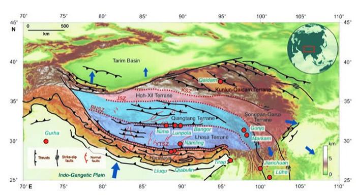 青藏高原构造简图。青藏高原是由不同的地块拼接而成,各地块的形成过程不同而又有机地统一。红色圆点为本文涉及到的青藏高原及其邻近地区古海拔研究地点。