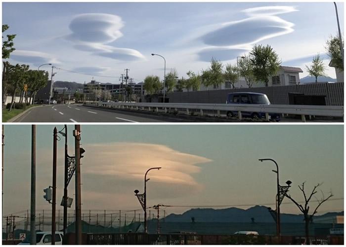 日本北海道札幌市上空突然出现怪云 似外星飞碟在空中列阵