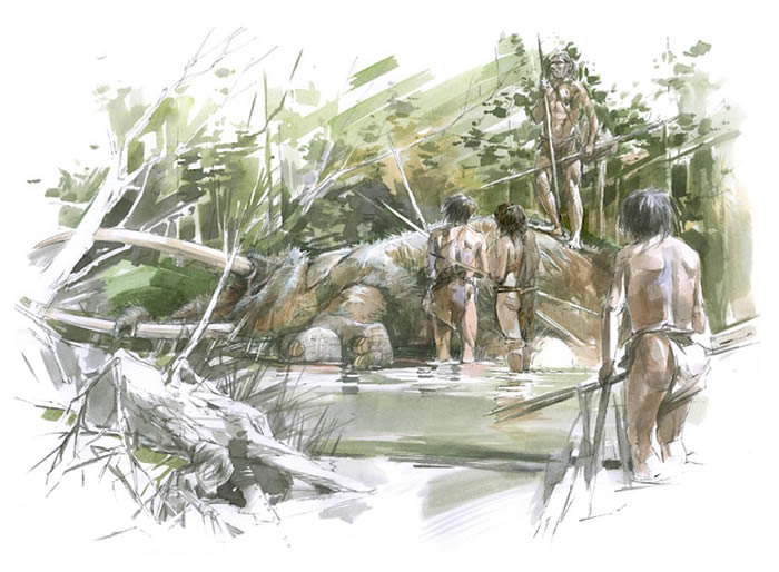 Verheijen指出,由于狩猎巨象的危险性极高,不太可能是人为狩猎的结果,但当大象生病或衰老时,象只便会往湖岸边或水中移动,届时人们便会前来取用大象的肉与骨头