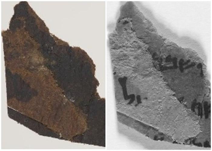 原以为是空白的死海古卷碎片(左图),在新影像技术下见到隐藏文字(右图)。