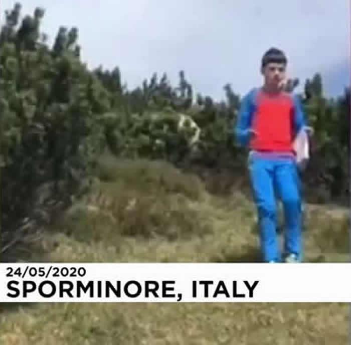 意大利12岁男孩被大狗熊盯上 沉着应对最终将其摆脱