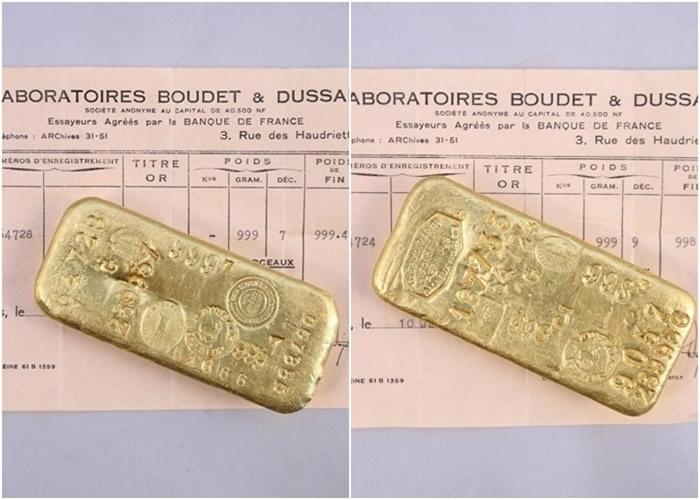 法国巴黎家庭前往小镇旺多姆的祖屋避疫时寻获价值8万欧元金条