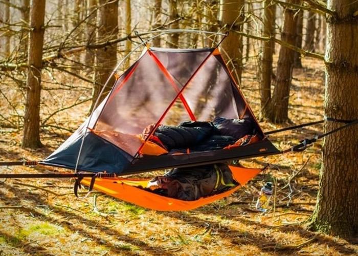 """加拿大初创公司推出""""Aerial A1""""具吊床功能帐篷 不怕冷湿地面又防野兽"""