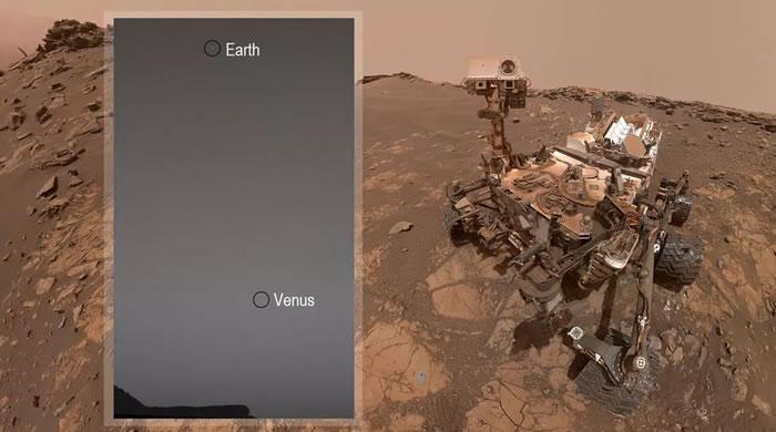 """美国宇航局""""好奇号""""探测器从火星表面拍到地球和金星的全景图"""