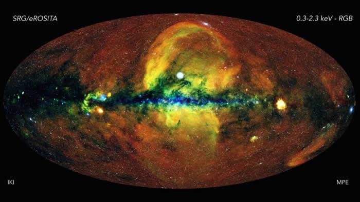 """利用""""光谱—伦琴—伽马""""任务eROSITA X射线望远镜数据绘制前所未见的宇宙全天空图像"""