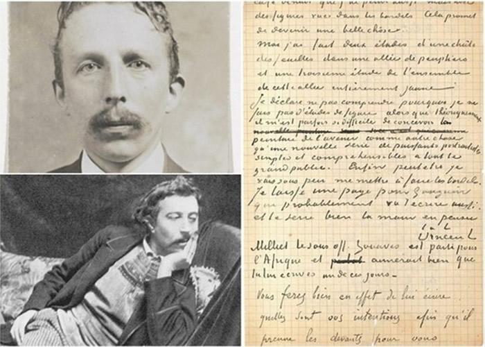 梵高(左图上)与高庚(左图下)合撰的信(右图)于巴黎拍卖成交。