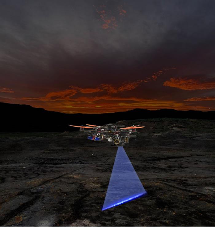图一︰港大研发的自动激光扫描无人机系统在夜间寻找化石、矿物和生物目标(此为仿真图片)。图片提供:Thomas G Kaye和文嘉棋。