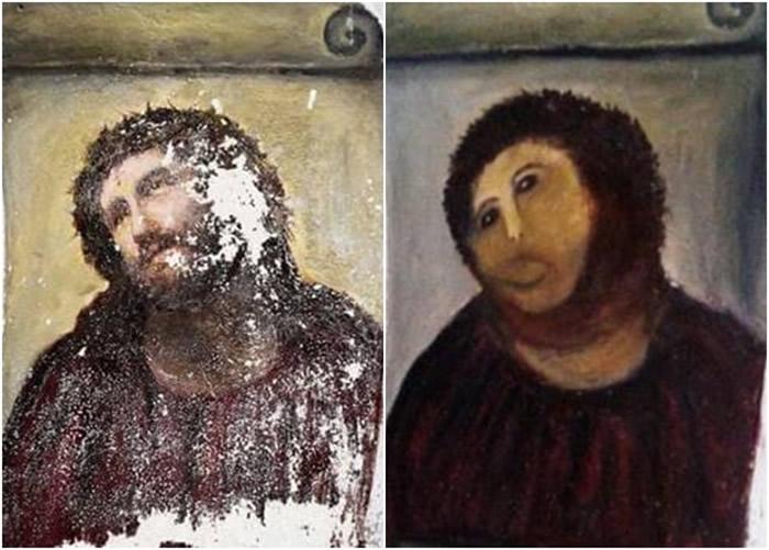 西班牙早年已发生过耶稣画像修复变被毁的惨案。