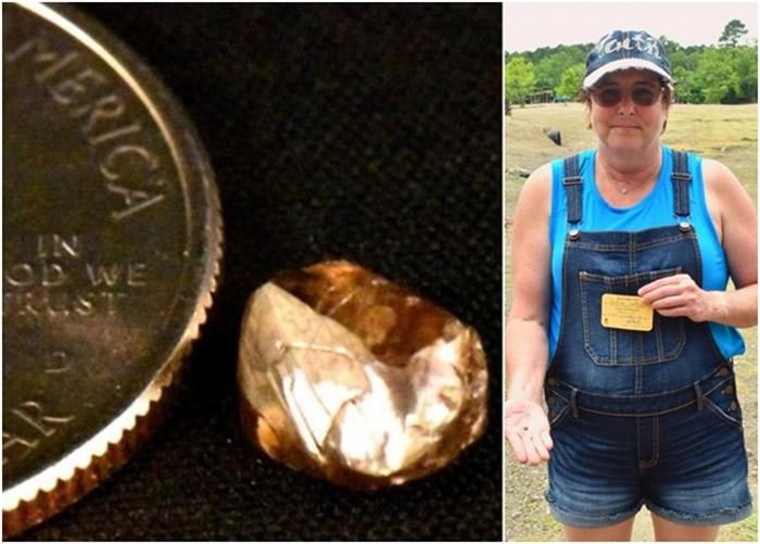 美国阿肯色州妇人到钻石坑州立公园淘宝发现2.23卡褐钻