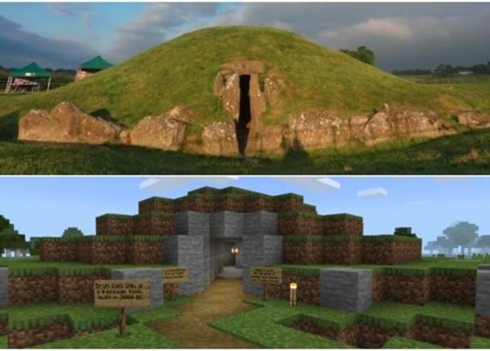 上为石隧墓实景,下为虚拟游戏场景。