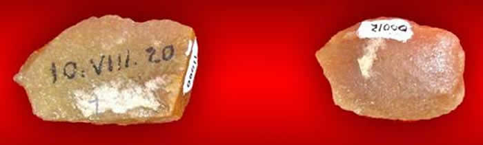 1920年8月10日赵家岔遗址出土的2件石英岩石片
