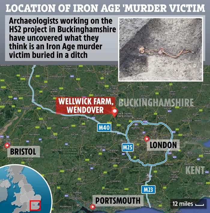 """英国白金汉郡温多弗市韦克威克农场发现2000年前的""""神秘杀人案""""遇害者"""