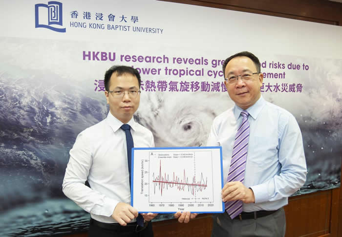香港浸会大学地理系研究显示热带气旋移动减慢 为中国沿海带来更大水灾威胁
