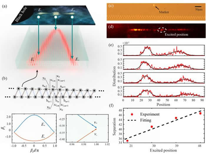 (a) 在光子芯片上实现黑洞视界附近粒子对产生示意图。 (b) 光子芯片中波导阵列设计结构以及其物理能带结构性质。 (c) 加工的光子芯片横截面,展示了波导阵列