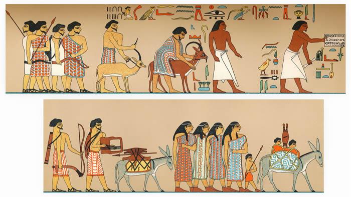 古埃及壁画上,希克索斯人穿着色彩鲜艳的衣服,而埃及人通常穿白色的衣服。图片来源:FALKENSTEINFOTO/ALAMY STOCK PHOTO