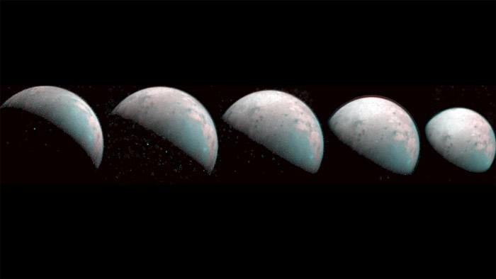 朱诺号深空探测器拍摄的木星最大卫星——木卫三盖尼米得北极的首批图像