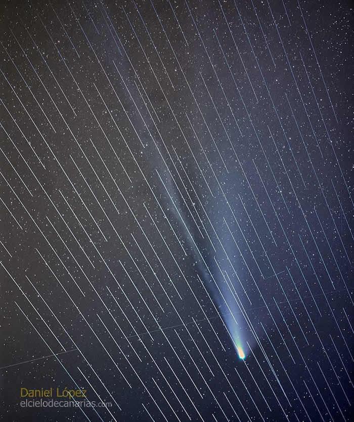 天文学家称SpaceX的Starlink卫星破坏彗星照片