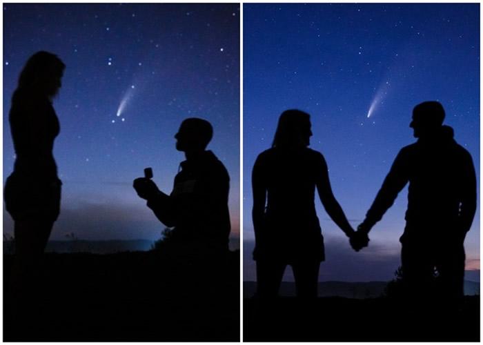 美国纽约州男教师在NEOWISE彗星下浪漫求婚