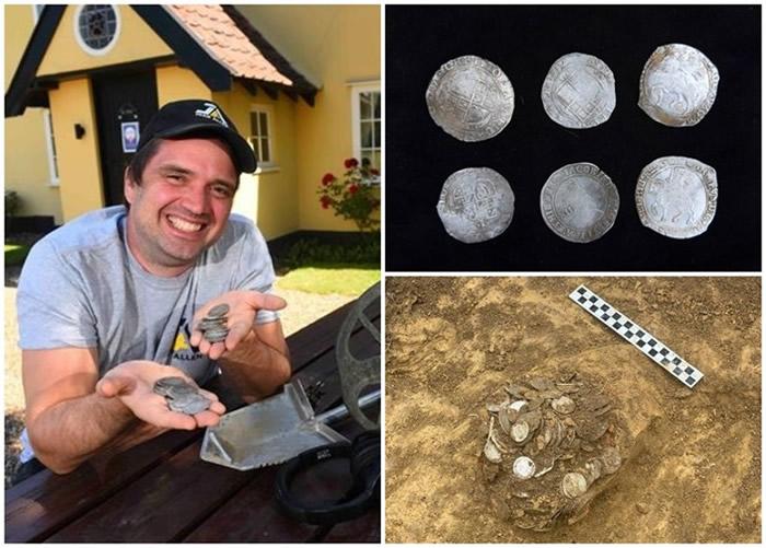 英国萨福克郡一名爱用金属探测器寻宝的男子到酒吧消遣发现价值10万英镑古银币