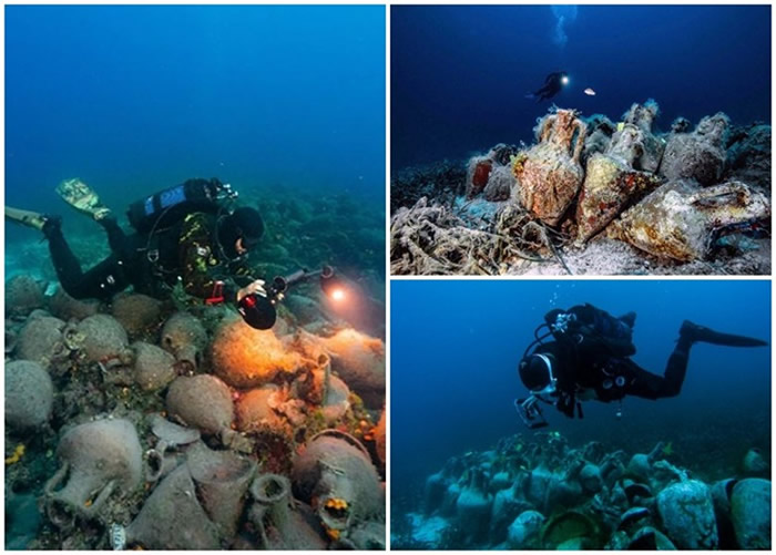 希腊2500年历史古沉船遗址水底博物馆在爱琴海佩里斯特拉岛海底剪彩开幕