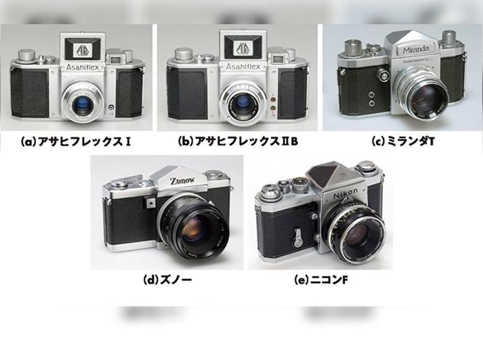 获选的单反相机,(上排左起)Asahi Flex 1、Asahi Flex ii b、Orion Miranda T,(下排左起)ZUNO、Nikon F