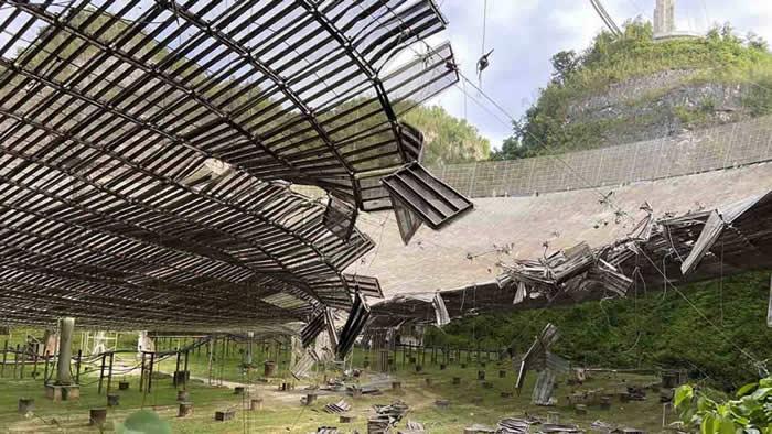 阿雷西博射电望远镜发生事故 电缆断裂掉落砸坏望远镜