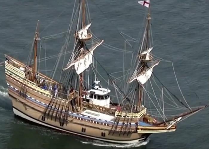 """400年前古朝圣船""""五月花号""""重制版修复3年重返麻省"""