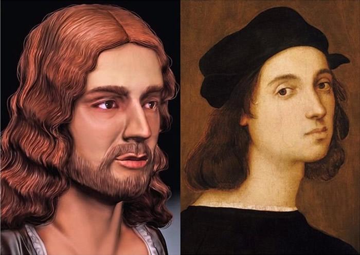 拉斐尔的自画像(右)的鼻子,比3D模型中的精致小巧。