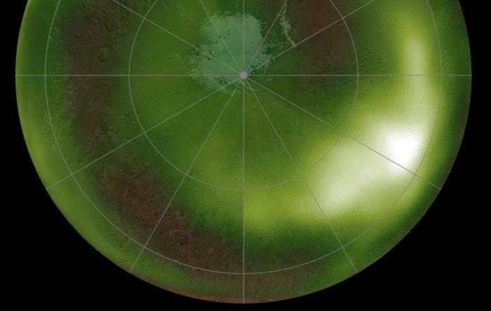 """美国宇航局火星大气与挥发物演化任务航天器在火星上观测到夜间绿色""""夜光"""""""