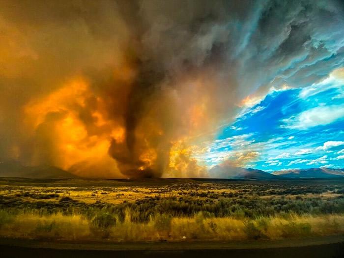 美国加州死亡谷国家公园录得创纪录摄氏54.4度高温 山火猛烈现火龙卷