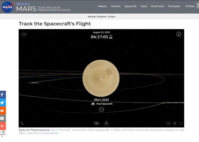 "NASA""聚焦太阳系""实时数据网站让民众可""跟随""火星探测器坚毅号一起漫游宇宙"
