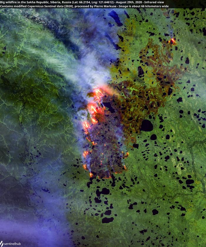 8月29日位于俄罗斯萨哈共和国的野火照。 照片来源:Pierre Markuse(CC BY 2.0)